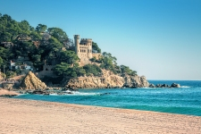 LLORET DE MAR SPAIN - January 01 2015: Seaside with Sant Joan castle in Lloret de Mar Costa Brava Catalonia Spain